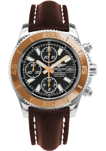 Breitling Watches - Superocean Chronograph II Abyss White Steel and Gold - Style No: C1334112/BA84-leather-brown-folding