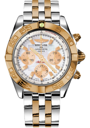 Breitling Watches - Chronomat 44 Steel and Rose Gold Polished Bezel - Pilot Two Tone Bracelet - Style No: CB011012/A697-pilot-two-tone