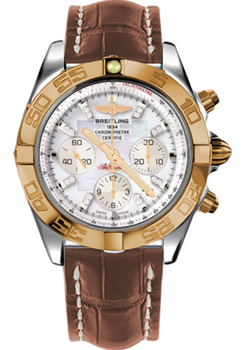 Breitling Watches - Chronomat 44 Steel and Rose Gold Polished Bezel - Croco Strap - Deployant - Style No: CB011012/A698-croco-gold-deployant
