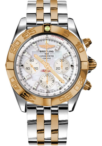 Breitling Watches - Chronomat 44 Steel and Rose Gold Polished Bezel - Pilot Two Tone Bracelet - Style No: CB011012/A698-pilot-two-tone