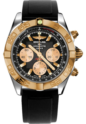 Breitling Watches - Chronomat 44 Steel and Rose Gold Polished Bezel - Diver Pro II Strap - Deployant - Style No: CB011012/B968-diver-pro-ii-black-deployant