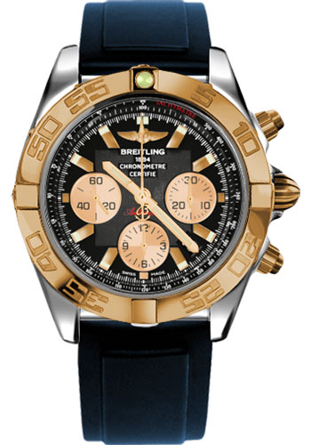 Breitling Watches - Chronomat 44 Steel and Rose Gold Polished Bezel - Diver Pro II Strap - Deployant - Style No: CB011012/B968-diver-pro-ii-blue-deployant