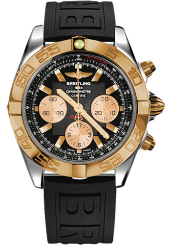 Breitling Watches - Chronomat 44 Steel and Rose Gold Polished Bezel - Diver Pro III Strap - Deployant - Style No: CB011012/B968-diver-pro-iii-black-deployant