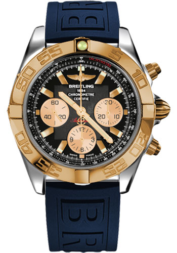Breitling Watches - Chronomat 44 Steel and Rose Gold Polished Bezel - Diver Pro III Strap - Deployant - Style No: CB011012/B968-diver-pro-iii-blue-deployant