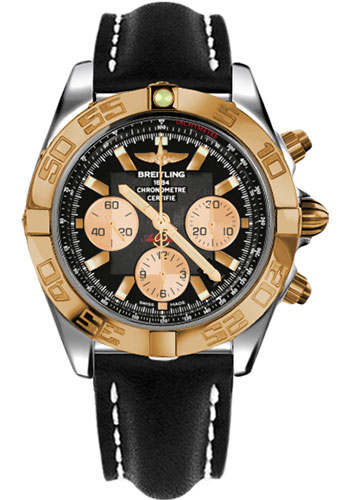Breitling Watches - Chronomat 44 Steel and Rose Gold Polished Bezel - Leather Strap - Deployant - Style No: CB011012/B968-leather-black-deployant