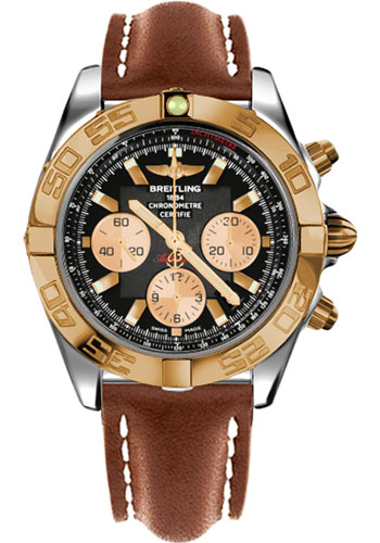 Breitling Watches - Chronomat 44 Steel and Rose Gold Polished Bezel - Leather Strap - Deployant - Style No: CB011012/B968-leather-gold-deployant