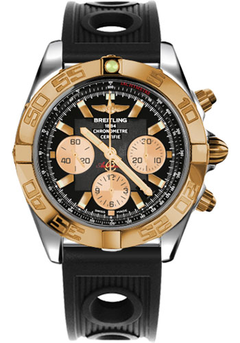 Breitling Watches - Chronomat 44 Steel and Rose Gold Polished Bezel - Ocean Racer Strap - Deployant - Style No: CB011012/B968-ocean-racer-black-deployant