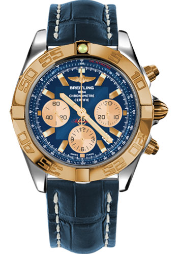 Breitling Watches - Chronomat 44 Steel and Rose Gold Polished Bezel - Croco Strap - Deployant - Style No: CB011012/C790-croco-blue-deployant