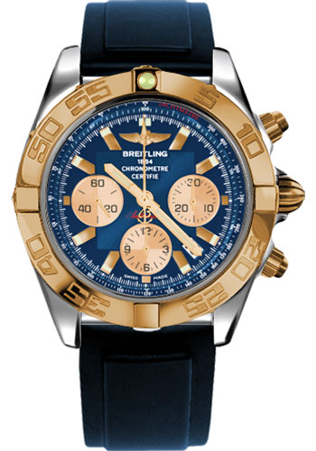 Breitling Watches - Chronomat 44 Steel and Rose Gold Polished Bezel - Diver Pro II Strap - Deployant - Style No: CB011012/C790-diver-pro-ii-blue-deployant