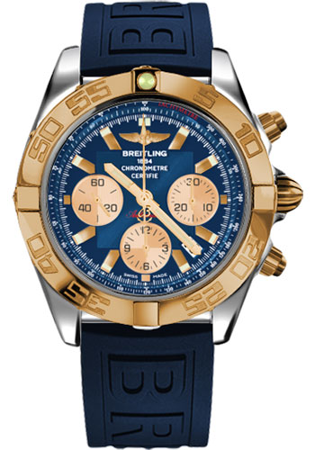Breitling Watches - Chronomat 44 Steel and Rose Gold Polished Bezel - Diver Pro III Strap - Deployant - Style No: CB011012/C790-diver-pro-iii-blue-deployant