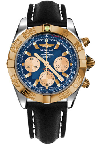 Breitling Watches - Chronomat 44 Steel and Rose Gold Polished Bezel - Leather Strap - Tang - Style No: CB011012/C790-leather-black-tang