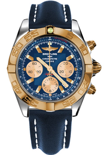 Breitling Watches - Chronomat 44 Steel and Rose Gold Polished Bezel - Leather Strap - Tang - Style No: CB011012/C790-leather-blue-tang