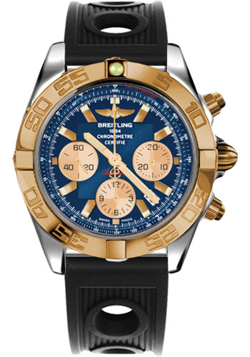 Breitling Watches - Chronomat 44 Steel and Rose Gold Polished Bezel - Ocean Racer Strap - Deployant - Style No: CB011012/C790-ocean-racer-black-deployant