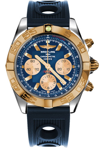 Breitling Watches - Chronomat 44 Steel and Rose Gold Polished Bezel - Ocean Racer Strap - Deployant - Style No: CB011012/C790-ocean-racer-blue-deployant