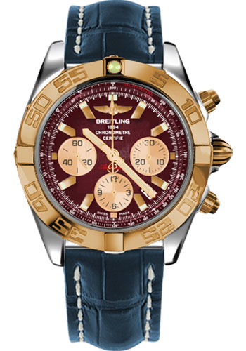 Breitling Watches - Chronomat 44 Steel and Rose Gold Polished Bezel - Croco Strap - Deployant - Style No: CB011012/K524-croco-blue-deployant