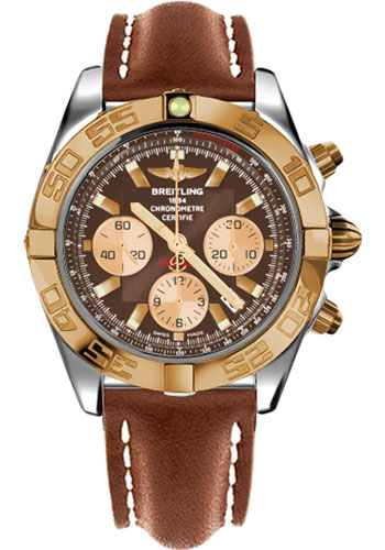 Breitling Watches - Chronomat 44 Steel and Rose Gold Polished Bezel - Leather Strap - Deployant - Style No: CB011012/Q576-leather-gold-deployant
