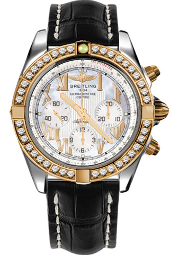 Breitling Watches - Chronomat 44 Steel and Rose Gold 40 Dia Bezel - Croco Strap - Deployant - Style No: CB011053/A693-croco-black-deployant