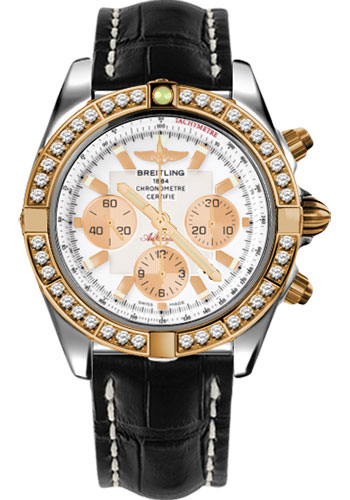 Breitling Watches - Chronomat 44 Steel and Rose Gold 40 Dia Bezel - Croco Strap - Deployant - Style No: CB011053/A696-croco-black-deployant