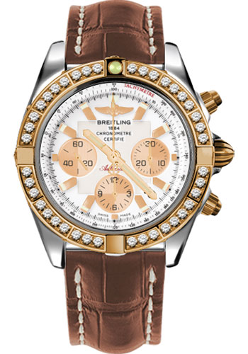 Breitling Watches - Chronomat 44 Steel and Rose Gold 40 Dia Bezel - Croco Strap - Deployant - Style No: CB011053/A696-croco-gold-deployant