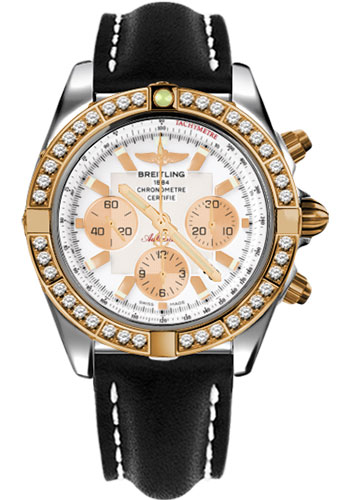 Breitling Watches - Chronomat 44 Steel and Rose Gold 40 Dia Bezel - Leather Strap - Deployant - Style No: CB011053/A696-leather-black-deployant