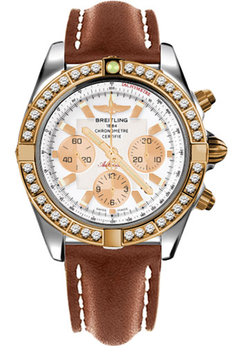 Breitling Watches - Chronomat 44 Steel and Rose Gold 40 Dia Bezel - Leather Strap - Deployant - Style No: CB011053/A696-leather-gold-deployant