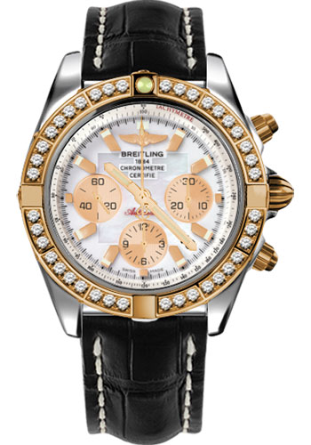 Breitling Watches - Chronomat 44 Steel and Rose Gold 40 Dia Bezel - Croco Strap - Deployant - Style No: CB011053/A697-croco-black-deployant