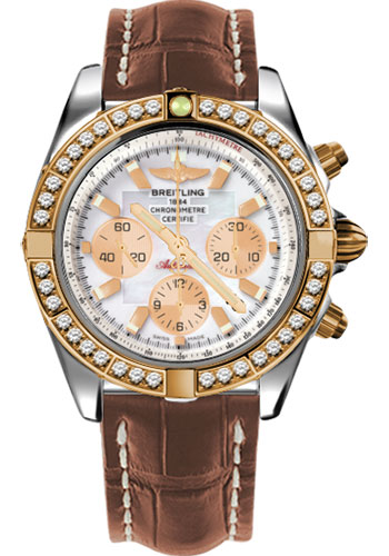 Breitling Watches - Chronomat 44 Steel and Rose Gold 40 Dia Bezel - Croco Strap - Deployant - Style No: CB011053/A697-croco-gold-deployant