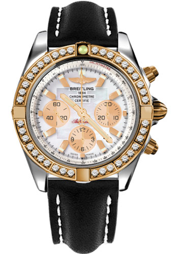 Breitling Watches - Chronomat 44 Steel and Rose Gold 40 Dia Bezel - Leather Strap - Deployant - Style No: CB011053/A697-leather-black-deployant