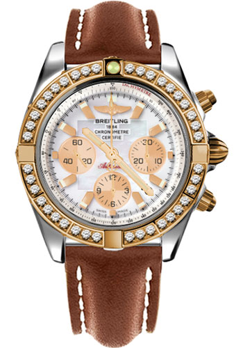 Breitling Watches - Chronomat 44 Steel and Rose Gold 40 Dia Bezel - Leather Strap - Deployant - Style No: CB011053/A697-leather-gold-deployant