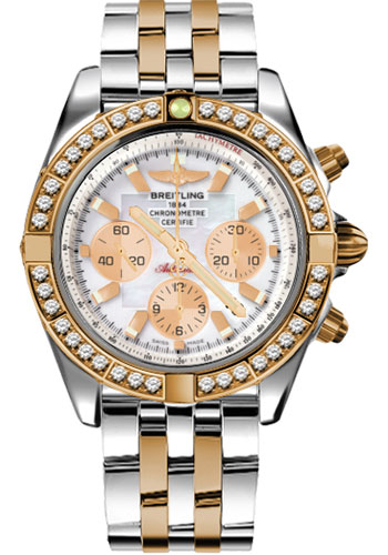Breitling Watches - Chronomat 44 Steel and Rose Gold 40 Dia Bezel - Pilot Bracelet - Two-Tone - Style No: CB011053/A697-pilot-two-tone