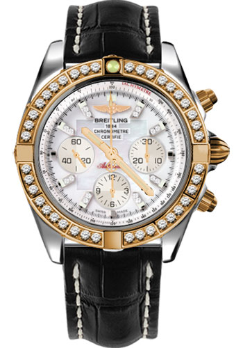 Breitling Watches - Chronomat 44 Steel and Rose Gold 40 Dia Bezel - Croco Strap - Deployant - Style No: CB011053/A698-croco-black-deployant