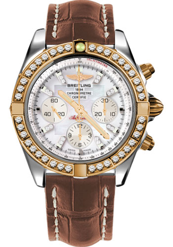 Breitling Watches - Chronomat 44 Steel and Rose Gold 40 Dia Bezel - Croco Strap - Deployant - Style No: CB011053/A698-croco-gold-deployant
