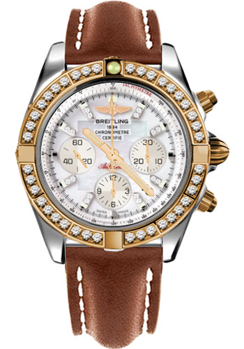 Breitling Watches - Chronomat 44 Steel and Rose Gold 40 Dia Bezel - Leather Strap - Deployant - Style No: CB011053/A698-leather-gold-deployant