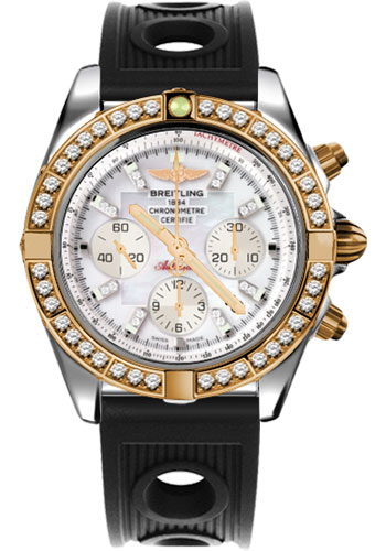 Breitling Watches - Chronomat 44 Steel and Rose Gold 40 Dia Bezel - Ocean Racer Strap - Deployant - Style No: CB011053/A698-ocean-racer-black-deployant
