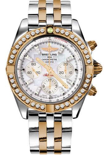 Breitling Watches - Chronomat 44 Steel and Rose Gold 40 Dia Bezel - Pilot Bracelet - Two-Tone - Style No: CB011053/A698-pilot-two-tone