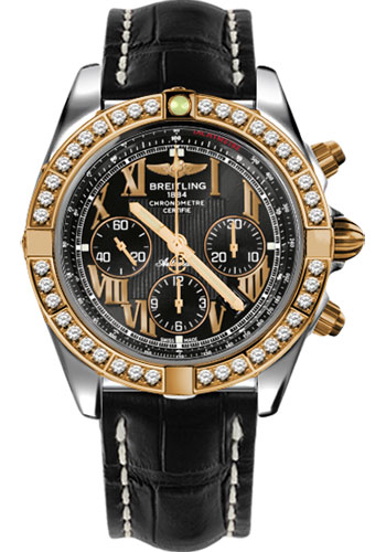Breitling Watches - Chronomat 44 Steel and Rose Gold 40 Dia Bezel - Croco Strap - Deployant - Style No: CB011053/B957-croco-black-deployant