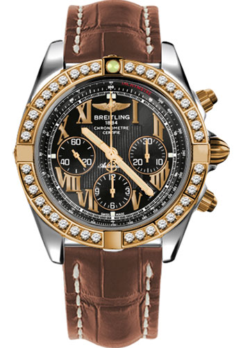 Breitling Watches - Chronomat 44 Steel and Rose Gold 40 Dia Bezel - Croco Strap - Deployant - Style No: CB011053/B957-croco-gold-deployant