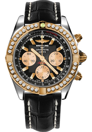 Breitling Watches - Chronomat 44 Steel and Rose Gold 40 Dia Bezel - Croco Strap - Tang - Style No: CB011053/B968-croco-black-tang