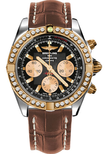 Breitling Watches - Chronomat 44 Steel and Rose Gold 40 Dia Bezel - Croco Strap - Tang - Style No: CB011053/B968-croco-gold-tang