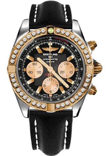 Breitling Watches - Chronomat 44 Steel and Rose Gold 40 Dia Bezel - Leather Strap - Deployant - Style No: CB011053/B968-leather-black-deployant