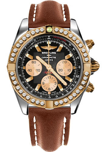 Breitling Watches - Chronomat 44 Steel and Rose Gold 40 Dia Bezel - Leather Strap - Deployant - Style No: CB011053/B968-leather-gold-deployant