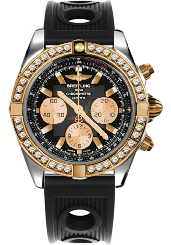 Breitling Watches - Chronomat 44 Steel and Rose Gold 40 Dia Bezel - Ocean Racer Strap - Deployant - Style No: CB011053/B968-ocean-racer-black-deployant