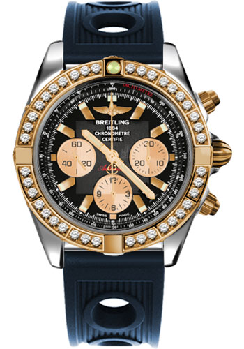 Breitling Watches - Chronomat 44 Steel and Rose Gold 40 Dia Bezel - Ocean Racer Strap - Deployant - Style No: CB011053/B968-ocean-racer-blue-deployant