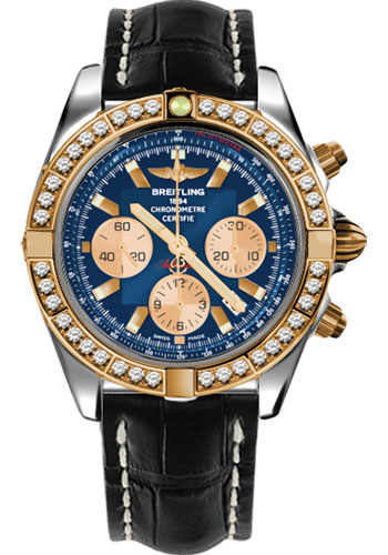 Breitling Watches - Chronomat 44 Steel and Rose Gold 40 Dia Bezel - Croco Strap - Tang - Style No: CB011053/C790-croco-black-tang