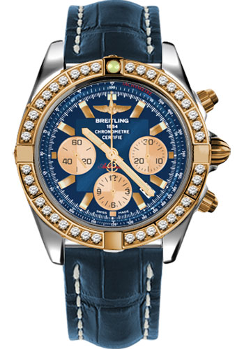 Breitling Watches - Chronomat 44 Steel and Rose Gold 40 Dia Bezel - Croco Strap - Deployant - Style No: CB011053/C790-croco-blue-deployant