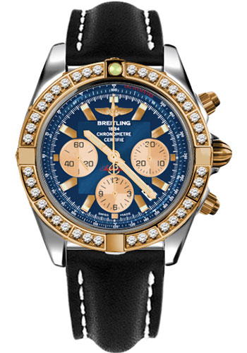 Breitling Watches - Chronomat 44 Steel and Rose Gold 40 Dia Bezel - Leather Strap - Deployant - Style No: CB011053/C790-leather-black-deployant