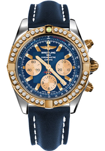 Breitling Watches - Chronomat 44 Steel and Rose Gold 40 Dia Bezel - Leather Strap - Deployant - Style No: CB011053/C790-leather-blue-deployant