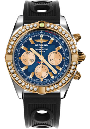 Breitling Watches - Chronomat 44 Steel and Rose Gold 40 Dia Bezel - Ocean Racer Strap - Deployant - Style No: CB011053/C790-ocean-racer-black-deployant