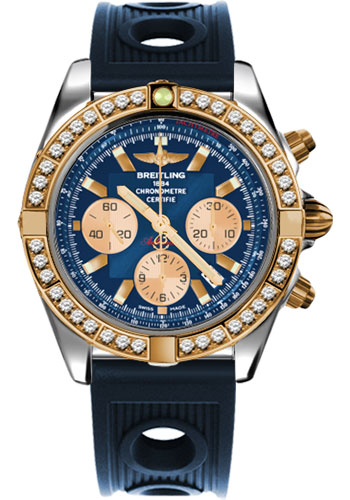 Breitling Watches - Chronomat 44 Steel and Rose Gold 40 Dia Bezel - Ocean Racer Strap - Deployant - Style No: CB011053/C790-ocean-racer-blue-deployant