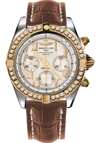 Breitling Watches - Chronomat 44 Steel and Rose Gold 40 Dia Bezel - Croco Strap - Deployant - Style No: CB011053/G677-croco-gold-deployant